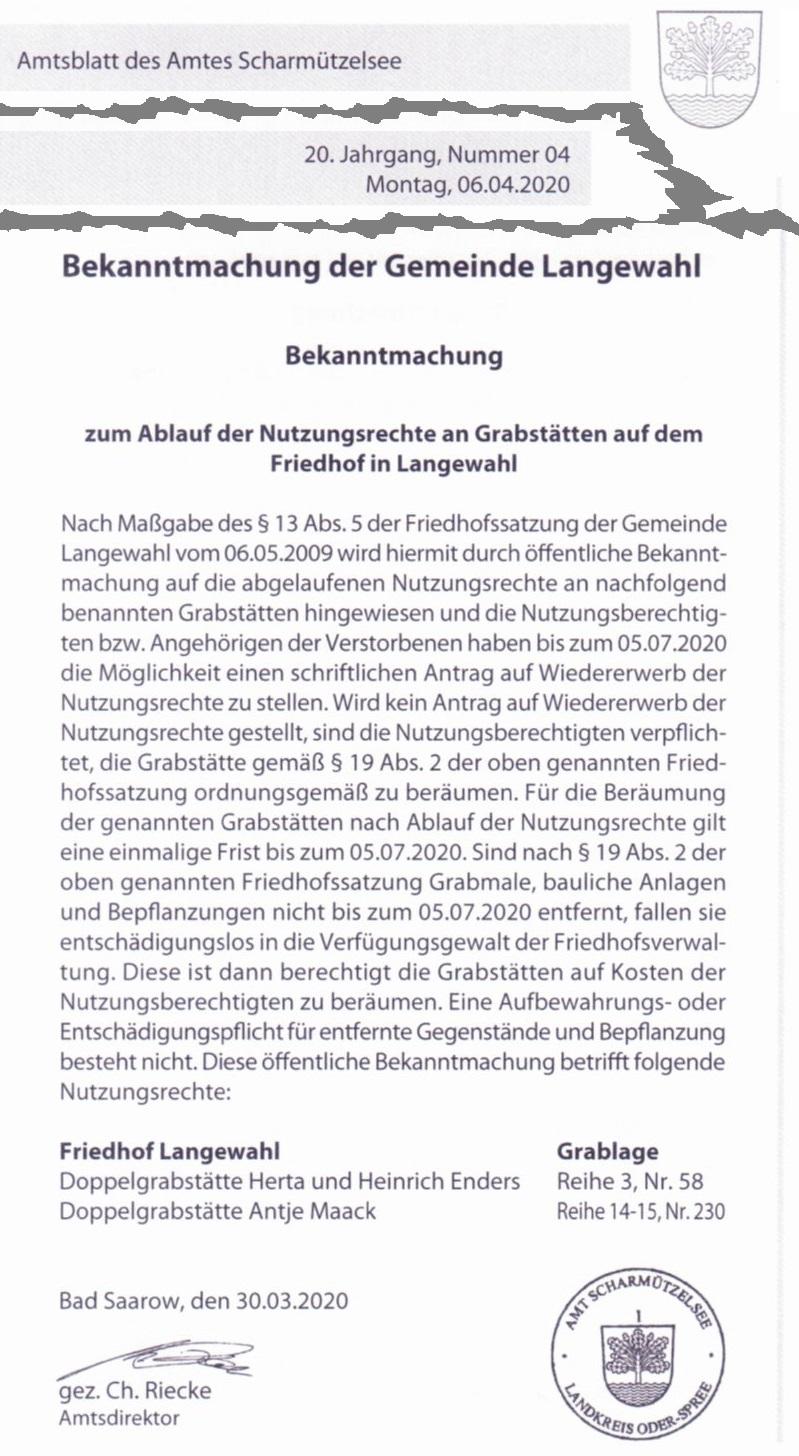 Ausriss / Scan Amtsblatt